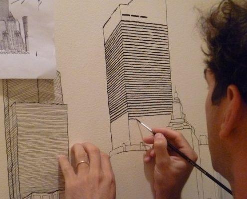 Matteo-Pericoli-Mural in NYC Apartment